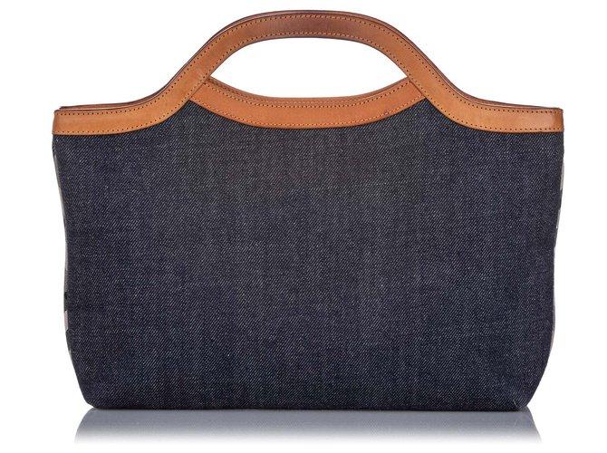 Burberry Burberry Blue Denim Handbag Handbags Leather,Denim,Pony-style calfskin,Cloth Brown,Blue ref.203928