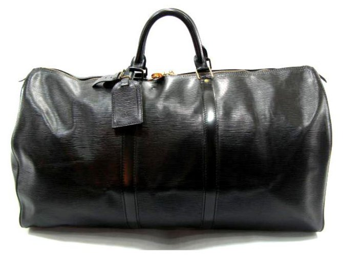 Sacs de voyage Louis Vuitton KEEPALL 60 CUIR EPI NOIR Cuir Noir ref.204258