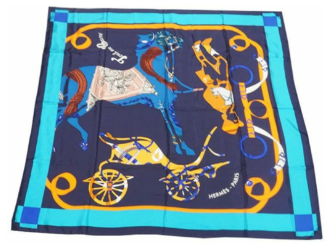 Hermès Carré140 Carre Geant TOUT EN CARRE All in Square Womens scarf blue Silk scarves Other Blue ref.205161