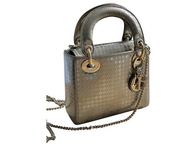 Christian Dior mini lady dior Handbags Patent leather Golden ref.205438
