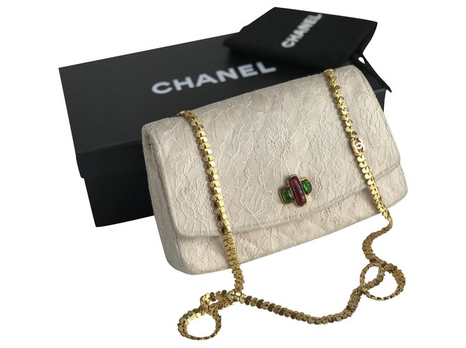 Chanel Rare Timeless Vintage Handbag Handbags Silk,Lace Beige,Cream ref.205673