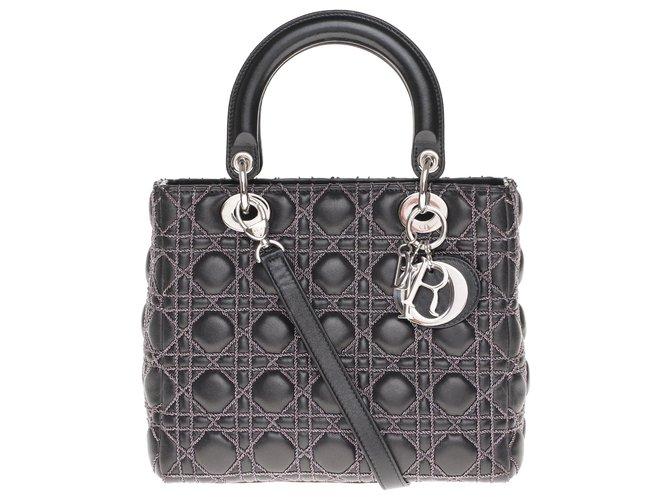 Christian Dior Limited series / Christian Dior bag Lady Dior MM model in black cannage leather, Garniture en métal argenté Handbags Leather Black ref.207416