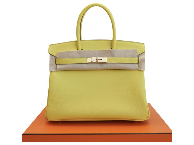 Hermès Handbags Handbags Leather Yellow ref.207620