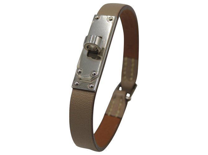 Bracelets Hermès HERMES BRACELET MINI KELLY Cuir Argenté,Beige ref.208118