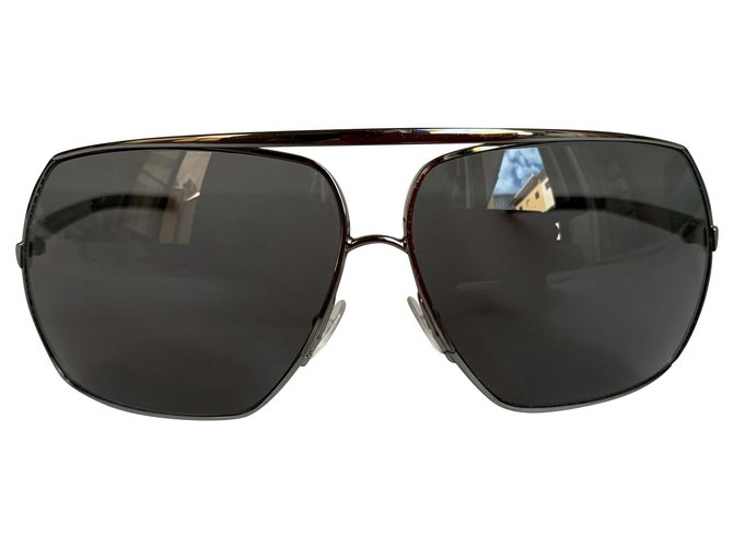 Yves Saint Laurent Silver metail aviator sunglasses Sunglasses Metal Silver hardware ref.208187