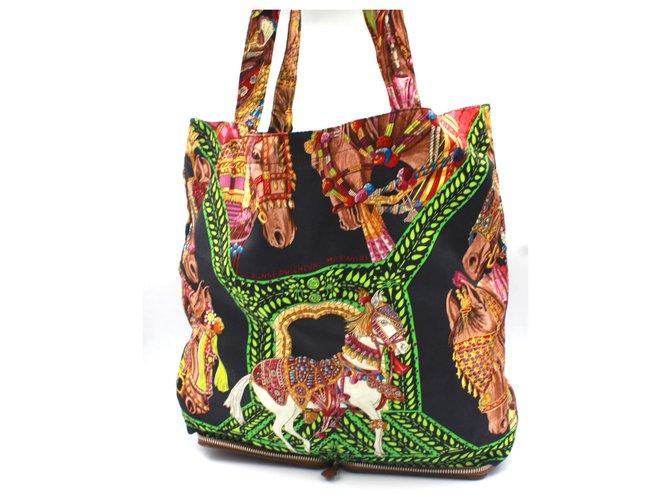 "Hermès Hermès silky pop totebag ""danse du cheval marwari"" printed Purses, wallets, cases Polyamide Black ref.208267"