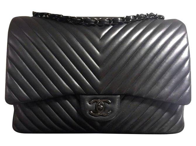 Chanel Rare Chanel So Black Jumbo Chevron timeless flap bag Handbags Leather Black ref.208821