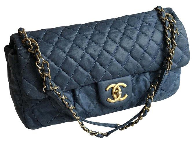 Chanel Timeless Limited Flap Bag Handbags Leather Blue,Light blue,Dark blue ref.209135