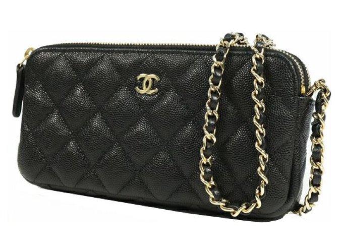 Chanel CHANEL matelasse chain Wallet coco mark Womens shoulder bag A82527 black x gold hardware Handbags Other Black,Gold hardware ref.210001