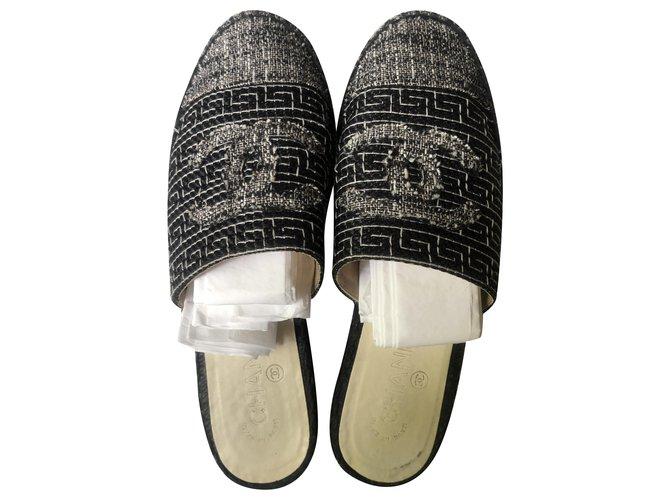 Chanel Espadrilles Espadrilles Tweed Black,Grey ref.210268