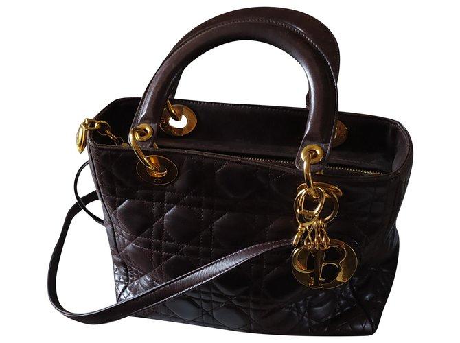 Christian Dior Handbags Handbags Leather Chocolate ref.210560