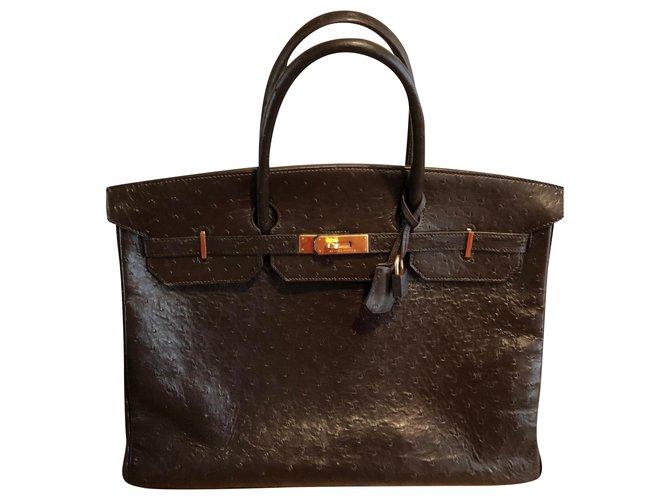 Hermès HERMES BIRKIN 40 Handbags Exotic leather Chocolate ref.210573