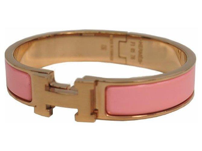 Bracelets Hermès Jonc HERMES Clic Clac PM émail x plaqué palladium rose x or rose Autre Autre ref.211961