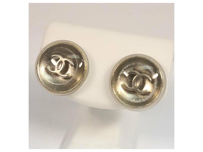 Chanel CHANEL coco mark round metal plastic Womens Earrings A11780Y02019 silver Misc Metal,Plastic Other ref.211965