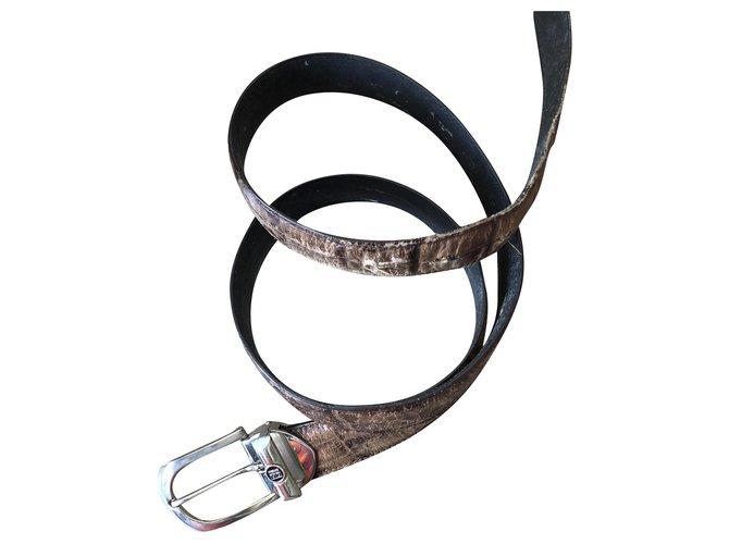 Versace Vintage Versace V2 Leather belt with removable buckle Belts Leather,Metal Beige ref.212387