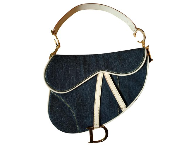 Christian Dior Saddle Handbags Leather,Denim Dark blue,Gold hardware ref.212492