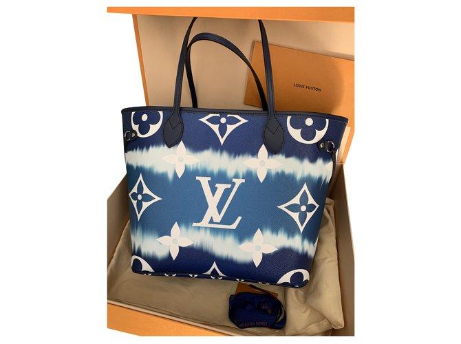 Louis Vuitton Neverfull MM collection Escale Azur summer 2020 Blue Cloth  ref.219731