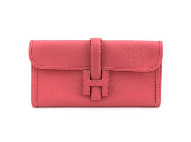 Hermès Hermès Jige Elan 29 Clutch Pink Azalee Swift Leather Clutch bags Leather Pink ref.212862