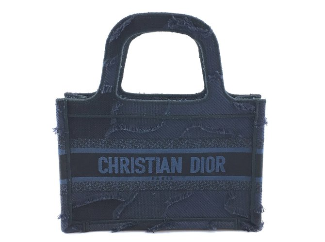 Dior Dior Book Tote Oblique Mini Wave Blue Denim Handbags Other Blue ref.212863