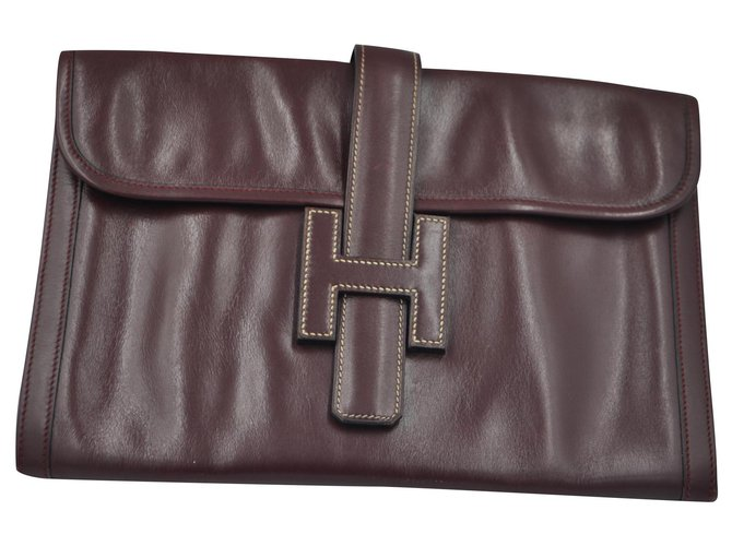 Hermès Hermes 1980's Jige Clutch bags Leather Dark red ref.213841