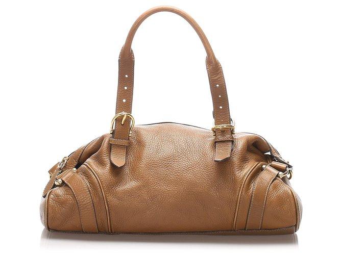Burberry Burberry Brown Leather Handbag Handbags Leather,Pony-style calfskin Brown ref.213933