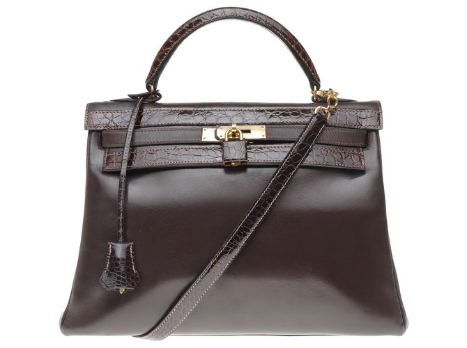 Hermès hermes kelly 32 Upside down in custom brown box leather with brown porosus crocodile, gold plated metal trim Handbags Leather,Exotic leather Brown ref.216151