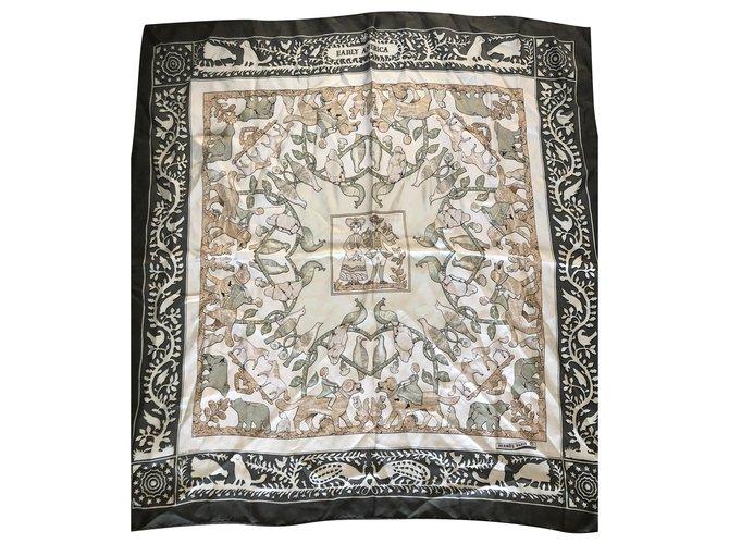 Hermès SQUARE HERMES EARLY AMERICA Silk scarves Silk Beige,Green ref.216311