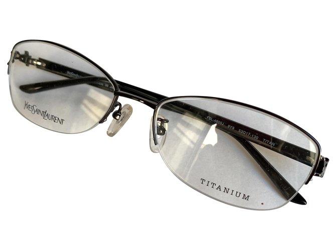 Yves Saint Laurent Titanium metal YSL frames Sunglasses Metal Dark brown ref.216574