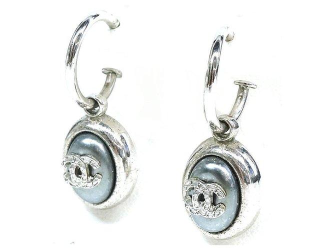 Chanel CHANEL coco mark hoop Swing metal Womens Earrings silver Misc Metal Other ref.217020