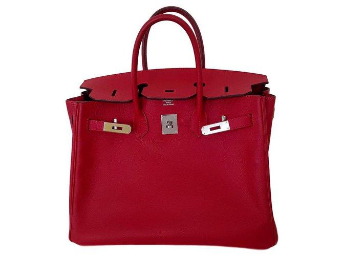 Hermès b.35 Rouge casaque Handbags Leather Red ref.208183
