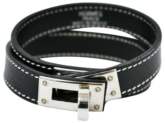 Bracelets Hermès Bracelet Hermès Cuir Noir ref.218245
