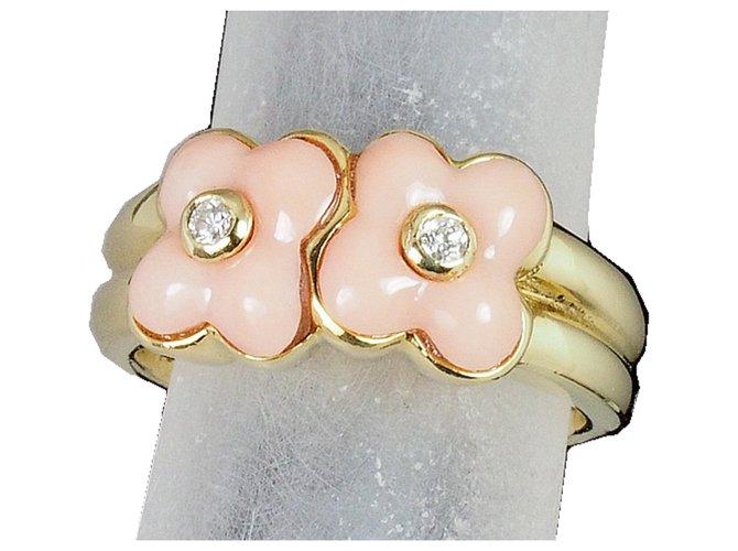 Bagues Van Cleef & Arpels Vintage Van Cleef & Arpels 18Bague fleur corail et diamant en or K Or jaune Multicolore ref.218938