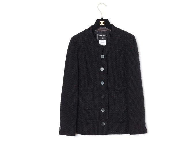 Chanel BLACK CLASSIC FR40 Jackets Wool Black ref.219000
