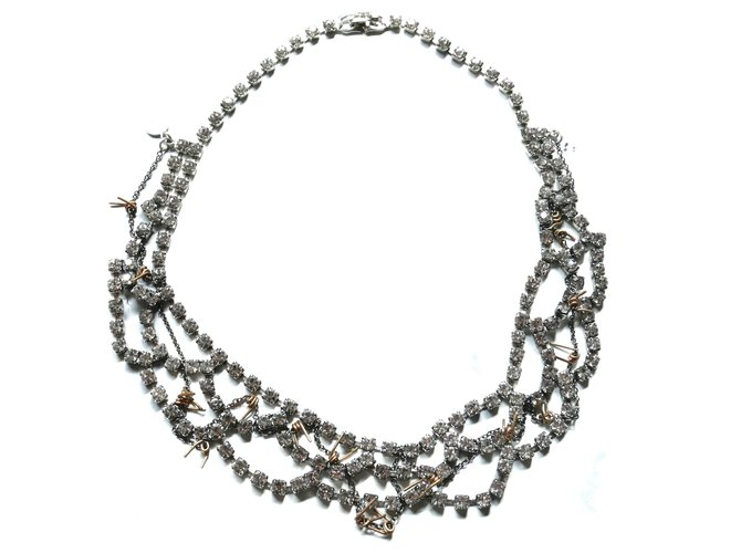 Tom Binns Barbed Wire & Crystal Necklace Silvery Glass  ref.219208