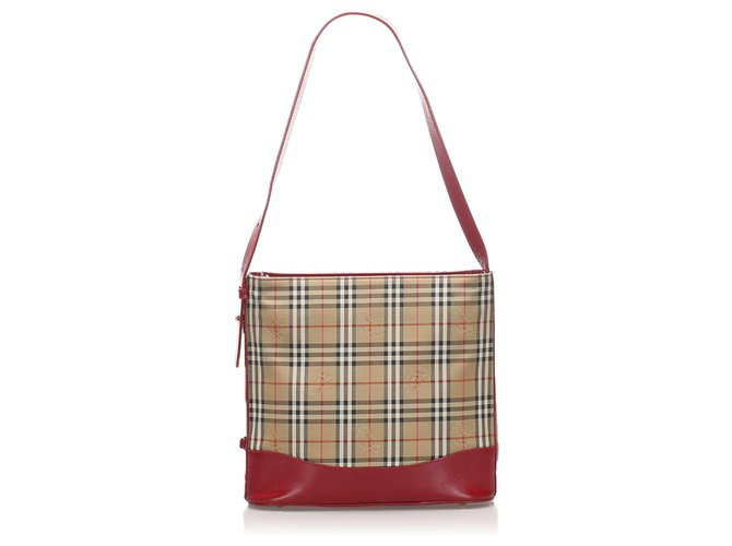 Burberry Burberry Brown Haymarket Check Canvas Shoulder Bag Handbags Leather,Cloth,Pony-style calfskin,Cloth Brown,Multiple colors,Beige ref.219295