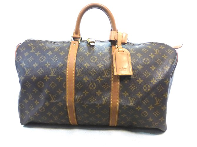 Sacs de voyage Louis Vuitton KEEPALL 50 MONOGRAM Cuir Marron ref.219446