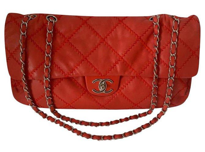 Sacs à main Chanel Chanel Cuir Rouge ref.219517
