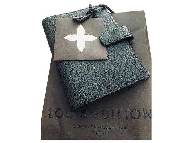 Louis Vuitton Agenda MM cover Black Leather  ref.219923