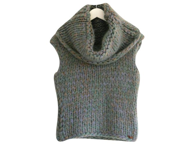 Chanel AW00 Chunky Knit Roll Neck Jumper Knitwear Mohair Blue ref.220967