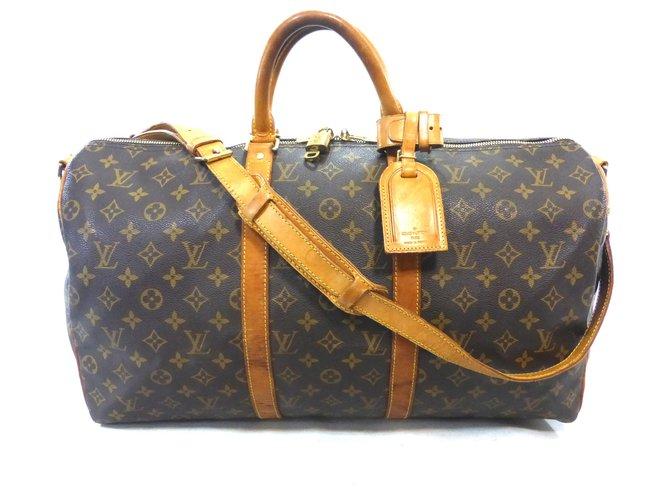 Sacs de voyage Louis Vuitton KEEPALL 50 BANDOULIERE MONOGRAM Cuir Marron ref.221198