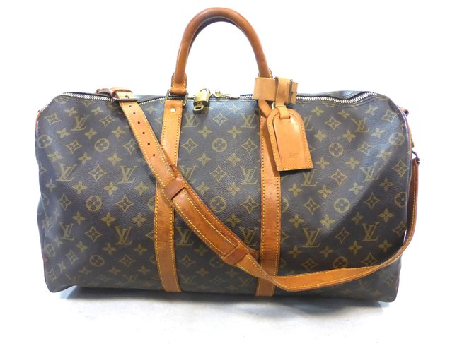 Sacs de voyage Louis Vuitton KEEPALL 50 BANDOULIERE MONOGRAM Cuir Marron ref.221200