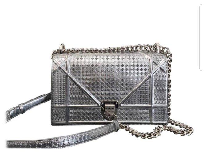 Dior Dior Diorama Silver calf leather Medium Bag Handbags Leather Silvery ref.221270