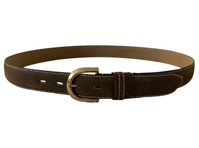 Yves Saint Laurent Taupe color vintage leather belt Belts Leather Taupe ref.221305