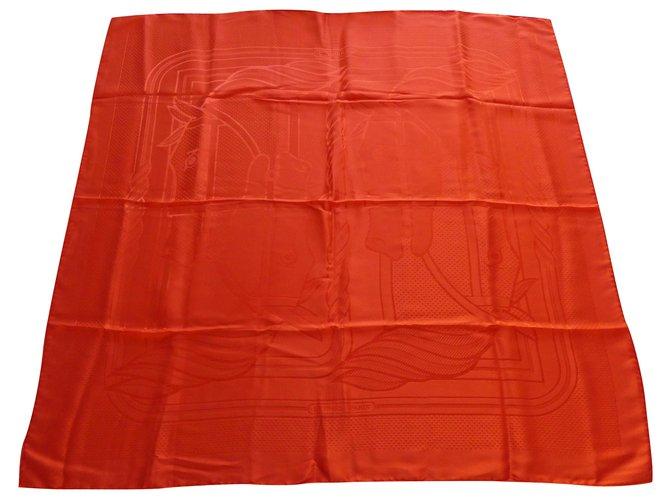 Hermès Square Hermes 90x90 silk jacquard quadriga Silk scarves Silk Orange ref.221740