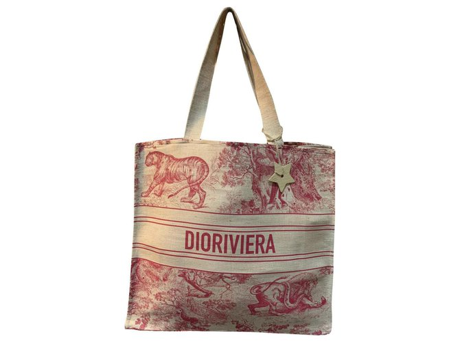 Dior DIOR BOOK RIVIERA BAG NEW Handbags Linen Red ref.222298