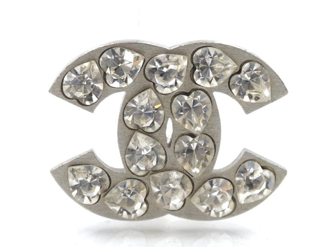 Chanel Chanel Silver CC Heart Crystals Brooch Pins & brooches Metal Silvery ref.222348