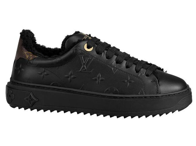 Louis Vuitton LV sneakers Time Out Sneakers Leather Black ref.222692