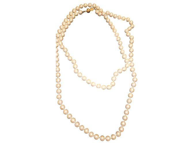 Colliers Céline Vintage Perle Blanc ref.222823