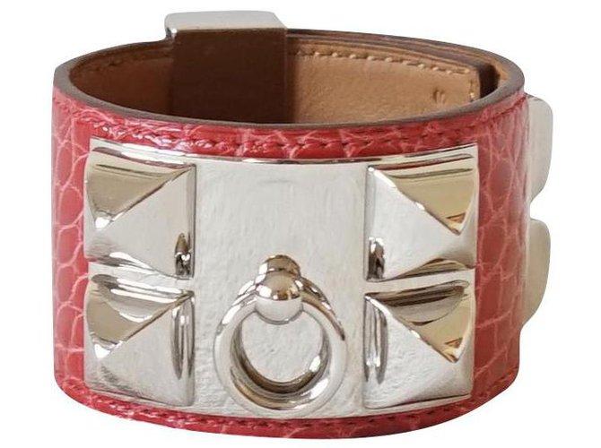 Bracelets Hermès Bracelets Cuirs exotiques Rouge ref.222830