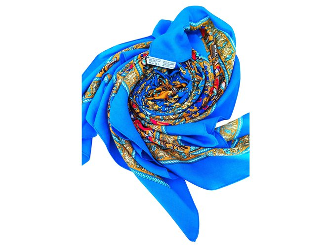 Hermès Hermès shawl 135cm Silk scarves Silk,Cashmere Blue ref.223121